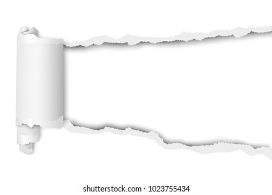 Torn, snatched hole in sheet of white paper. Vector template paper design.