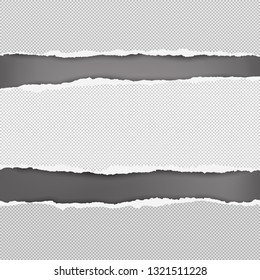 Torn squared white horizontal paper are on black background with space for text. Vector illustration