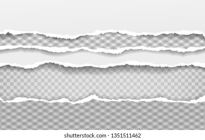 Torn squared and white horizontal paper strips with soft shadow. Vector illustration background