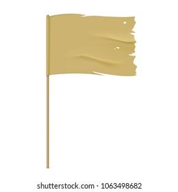 Torn vector flag. Waving khaki fabric flag, isolated on background. Tattered flag design.