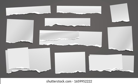 Torn white grainy note, notebook paper strips, pieces stuck on grey squared background. Vector illustration
