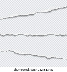 Torn white horizontal paper strips are on squared background. Vector illustration