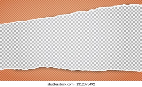 Torn white horizontal squared paper strips for text or message is on orange background. Vector illustration