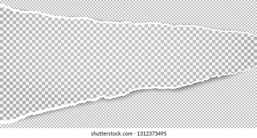 Torn white horizontal squared paper strips for text or message is on white background. Vector illustration