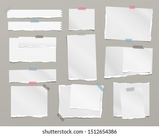 Torn white note, notebook paper pieces stuck with sticky tape on grey background. Vector illustration