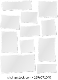 Torn of white note, notebook paper strips, pieces stuck on white background. Vector illustration