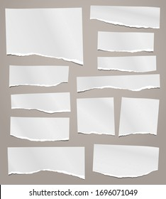 Torn of white note, notebook paper strips, pieces stuck on brown background. Vector illustration