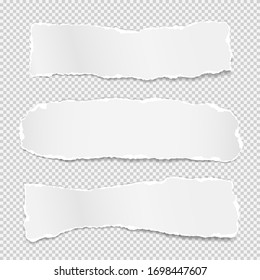 Torn of white note, notebook paper strips, pieces stuck on grey squared background. Vector illustration