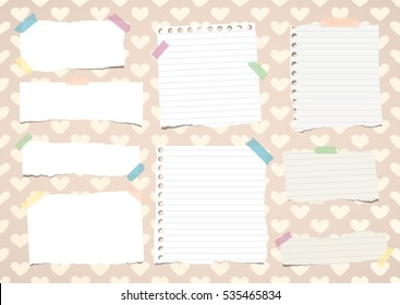 Torn white notebook, copy book, note paper stuck on pattern created of heart shapes
