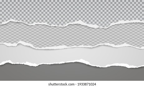 Torn of white and squared paper are on dark grey background for text, advertising or design. Vector illustration