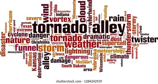 Tornado alley word cloud concept. Vector illustration