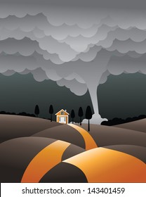 Tornado approaching house. EPS 10 vector, grouped for easy editing. No open shapes or paths.