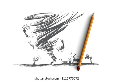 Tornado concept. Hand drawn tornado swirl damages village house and trees. Huge vortex destroyed building isolated vector illustration.