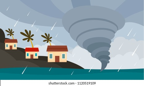 Tornado cyclone typhoon background. Flat illustration of tornado cyclone typhoon vector background for web design