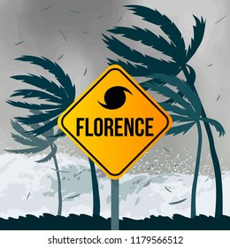 Tornado hurricane Florence, coming from the ocean. Huge waves on houses on the coast. Tropical disaster and a sign of catastrophe and warning. flat vector illustration