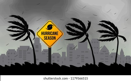 Tornado hurricane Florence, coming from the ocean. Huge waves on houses on the coast. Tropical disaster and a sign of catastrophe and warning. Flat vector illustration.