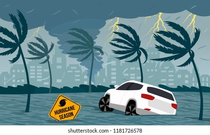 Tornado hurricane Florence, emerging from the ocean. Flooding the city and cars. Car accident. A tropical catastrophe and a sign of disaster. flat vector illustration