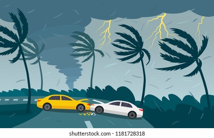 Tornado hurricane Florence, emerging from the ocean. Car accident. A tropical catastrophe and a sign of disaster. flat vector illustration