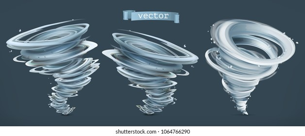 Tornado. Hurricane on a dark background. 3d vector icon set