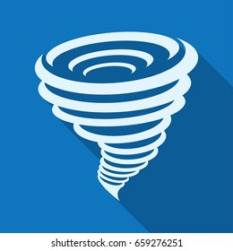 Tornado icon. Vector illustration, isolated on a blue background with a long shadow