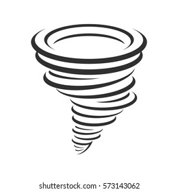 Tornado icon. Whirlwind storm sign isolated on white background. Typhoon in the linear flat style. Vector illustration EPS 10.