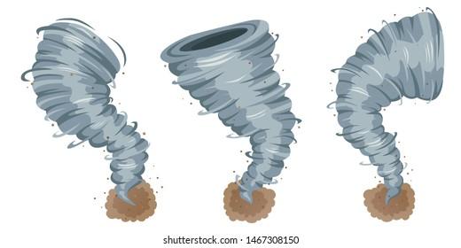 Tornado isolated on white background. Vector illustration eps 10. Hurricane