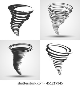 Tornado. Set of vector illustrations. Weather conditions symbols - natural disaster, hurricane wind, storm. Four tornado icons in different styles. Abstract design of rapid changes.