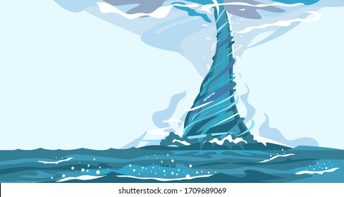 Tornado with spiral twists on water, the power of nature sea storm hurricane, nature force background illustration, storm weather forming over rough sea
