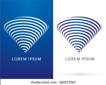 Tornado, storm, whirlwind, designed in triangle shape byline blue and white line, logo, symbol, icon, graphic, vector.