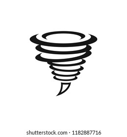 Tornado or twister icon isolated on white background.