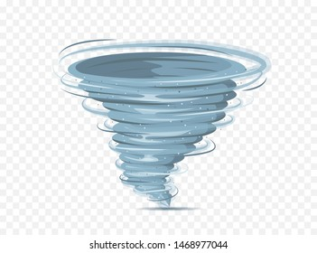 Tornado vector isolated on background. Transparent storm twister. Swirl tornado air effect. Vector illustration eps 10.