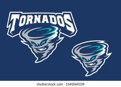Tornados for Baseball, Softball, American Football, Hockey Mascot Logo in Vector Illustration