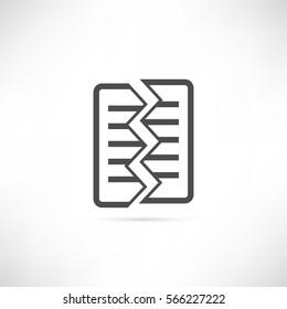Torned Text sheet icon in simple outline design. Destruction document symbol. Two halves of the sheet icon. Fragmentation form ui element. EPS10 vector illustration.