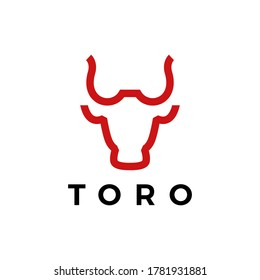 toro bull head line logo vector icon illustration