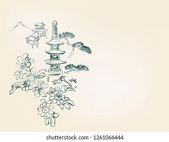 toro flower temple mountain nature landscape view vector sketch illustration japanese chinese oriental line art ink card background