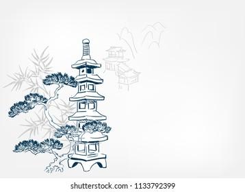 toro stone lighting card vector sketch illustration line art japanese chinese oriental design