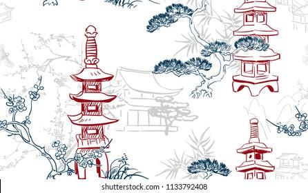 toro stone lighting vector sketch illustration line art japanese chinese oriental design