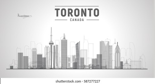 Toronto (Canada) city line skyline vector  vector illustration. Business travel and tourism concept with modern buildings. Image for banner or web site.