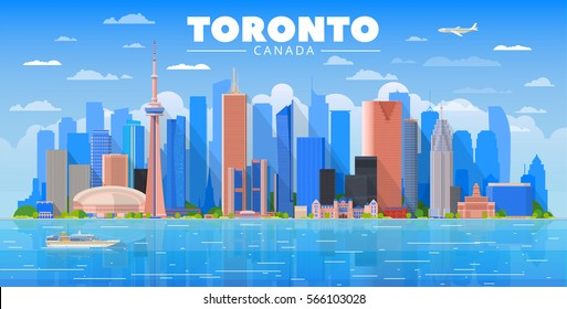 Toronto (Canada) city skyline sky background. Flat vector illustration. Business travel and tourism concept with modern buildings. Image for banner or web site.