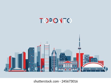 Toronto (Canada) city skyline vector background. Flat trendy illustration.