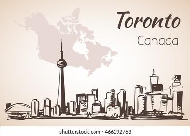 Toronto, Canada cityscape near the coastline. Isolated on white background