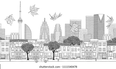 Toronto, Canada - Seamless banner of the city's skyline, hand drawn black and white illustration
