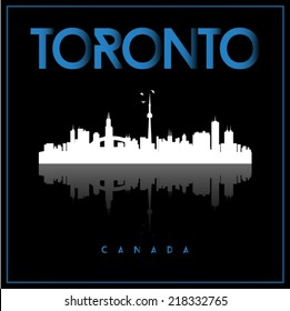 Toronto, Canada skyline silhouette vector design on black background.