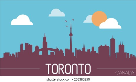 Toronto Canada skyline silhouette vector illustration