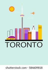 Toronto city Canada travel background. Vector