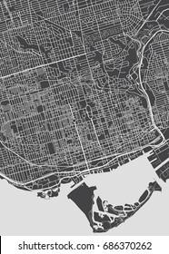Toronto city plan, detailed vector map