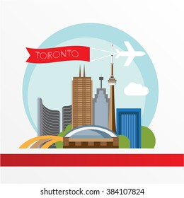 Toronto detailed silhouette. Trendy vector illustration, flat style. Stylish colorful  landmarks. The concept for a web banner. City Hall - The symbol of Toronto, Canada
