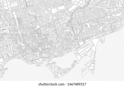 Toronto, Ontario, Canada, bright outlined vector map with bigger and minor roads and steets created for infographic backgrounds.