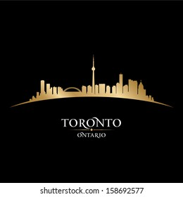 Toronto Ontario Canada city skyline silhouette. Vector illustration
