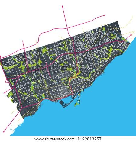 Toronto Ontario Canada Interconnected Roads Streets Stock Vector